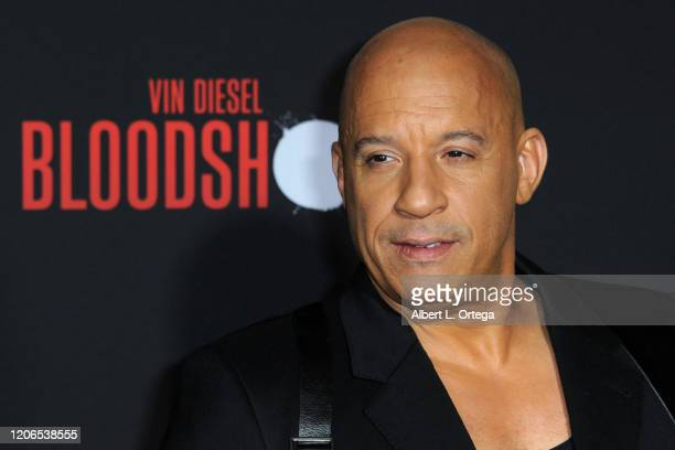 """Vin Diesel arrives for the Premiere Of Sony Pictures' """"Bloodshot"""" held at The Regency Village on March 10, 2020 in Los Angeles, California."""
