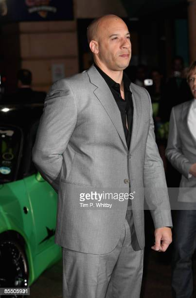 Vin Diesel arrives for the UK Premiere of Fast and Furious 4 at Vue West End cinema in Leicester Sqaure on March19 2009 in London England