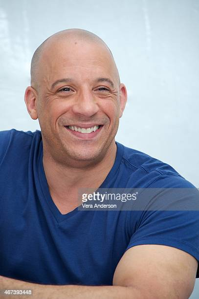 Vin Diesel at the 'Furious 7' Press Conference at Dodger Stadium on March 23 2015 in Los Angeles California