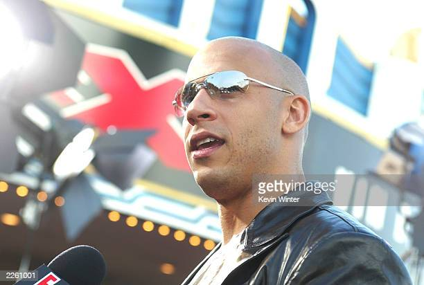 Vin Diesel at the premiere of 'XXX' at the Village Theater in Westwood Ca Monday August 5 2002 Photo by Kevin Winter/Getty Images