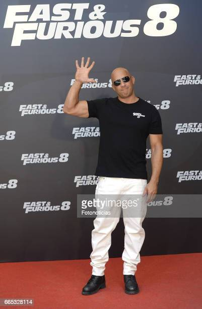 Vin Diesel attends a photocall for 'Fast Furious 8' at the Villamagna Hotel on April 6 2017 in Madrid Spain