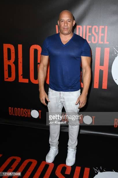 Vin Diesel attends a photocall for Sony Pictures' Bloodshot at The London Hotel on March 06 2020 in West Hollywood California