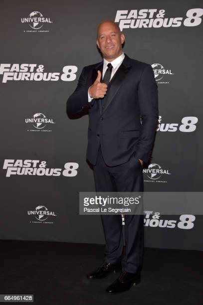 "Vin Diesel attends ""Fast & Furious 8"" Premiere at Le Grand Rex on April 5, 2017 in Paris, France."