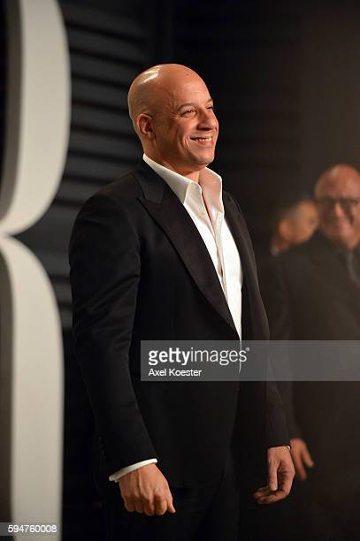 Vin Diesel attends the 2015 Vanity Fair Oscar Party hosted by Graydon Carter at the Wallis Annenberg Center for the Performing Arts on February 22...