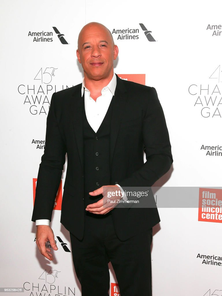 Vin Diesel attends the 45th Chaplin Award Gala Honoring Helen Mirren on April 30, 2018 in New York City.