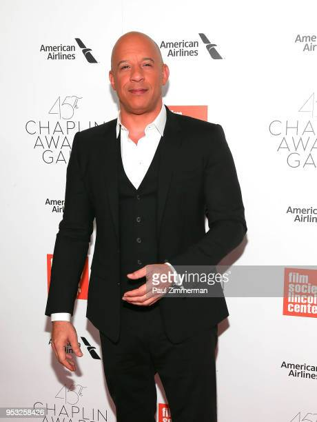 Vin Diesel attends the 45th Chaplin Award Gala Honoring Helen Mirren on April 30 2018 in New York City