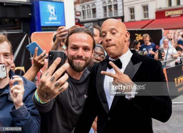"""Vin Diesel attends the European Premiere of Disney's """"The Lion King"""" at Odeon Luxe Leicester Square on July 14, 2019 in London, England."""