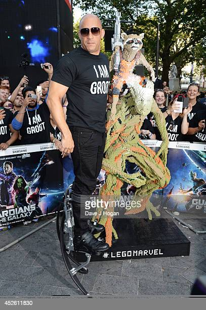 Vin Diesel attends the European premiere of Guardians Of The Galaxy at The Empire Leicester Square on July 24 2014 in London England