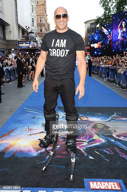 Vin Diesel attends the European premiere of 'Guardians Of The Galaxy' at The Empire Leicester Square on July 24 2014 in London England