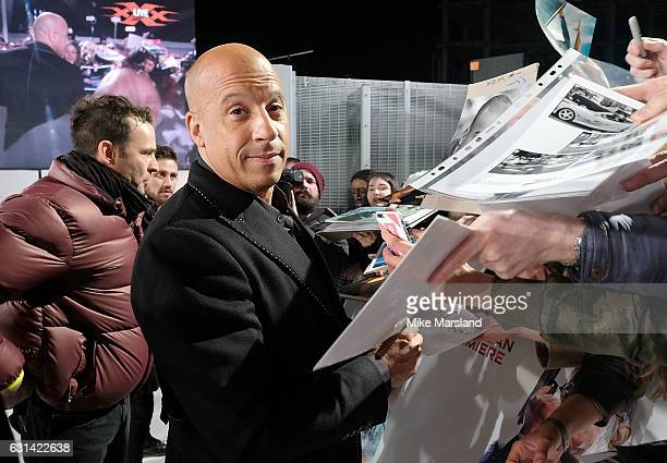 Vin Diesel attends the European Premiere of Paramount Pictures' 'xXx Return of Xander Cage' on January 10 2017 in London United Kingdom