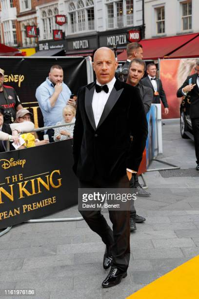 """Vin Diesel attends the European Premiere of """"The Lion King"""" at Odeon Luxe Leicester Square on July 14, 2019 in London, England."""