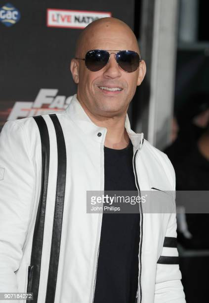 Vin Diesel attends the 'Fast and Furious Live' premiere at the O2 Arena on January 19 2018 in London England