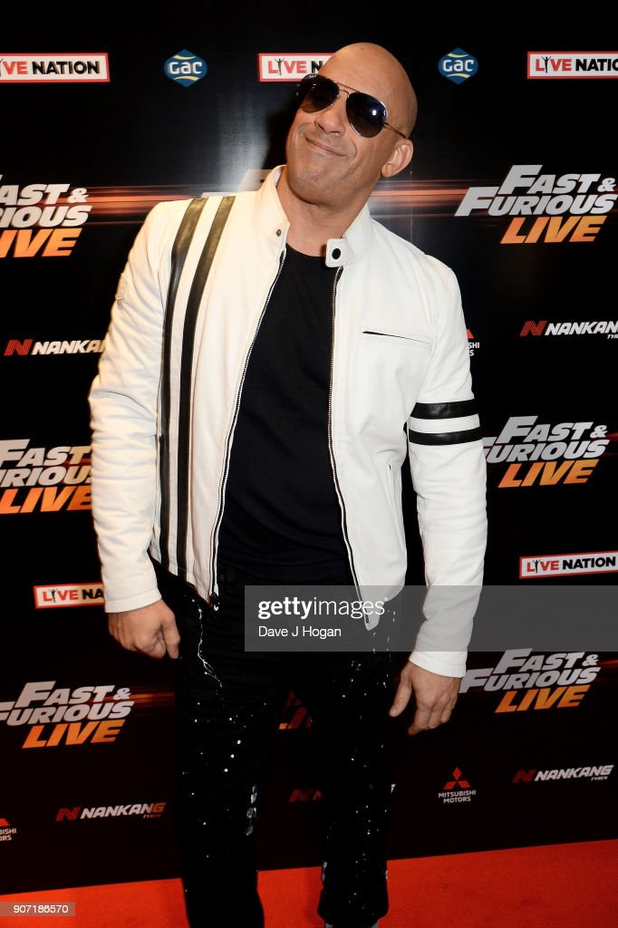 Vin Diesel attends the 'Fast and Furious Live' premiere at The O2 Arena on January 19, 2018 in London, England.