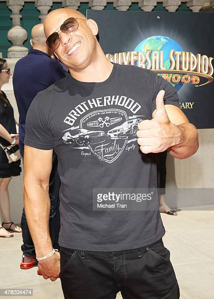 Vin Diesel attends the Fast Furious Supercharged ride press launch event held at Universal Studios Hollywood backlot on June 23 2015 in Universal...