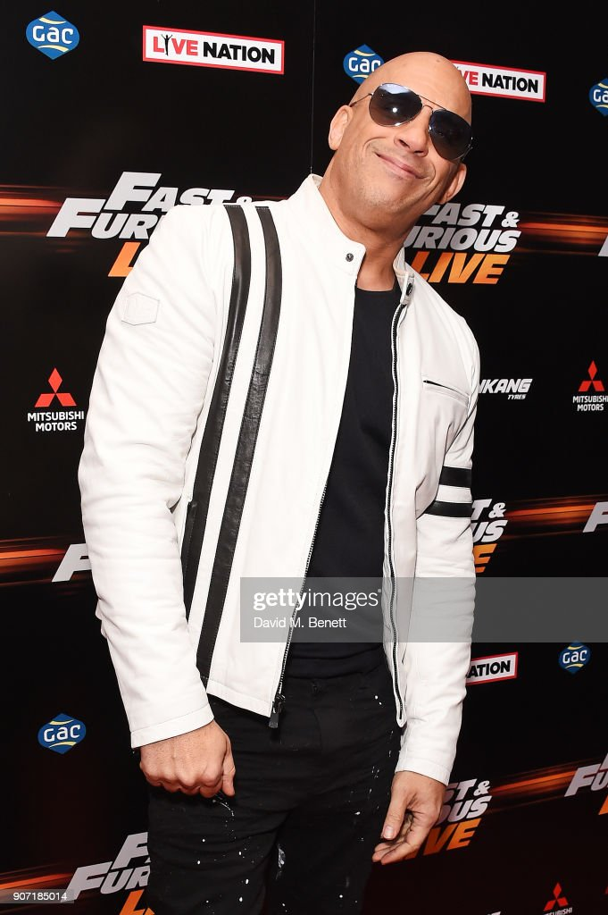 Vin Diesel attends the Global Premiere of 'Fast and Furious Live' at The O2 Arena on January 19, 2018 in London, England.