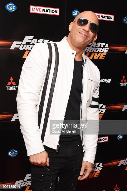 Vin Diesel attends the Global Premiere of 'Fast and Furious Live' at The O2 Arena on January 19 2018 in London England
