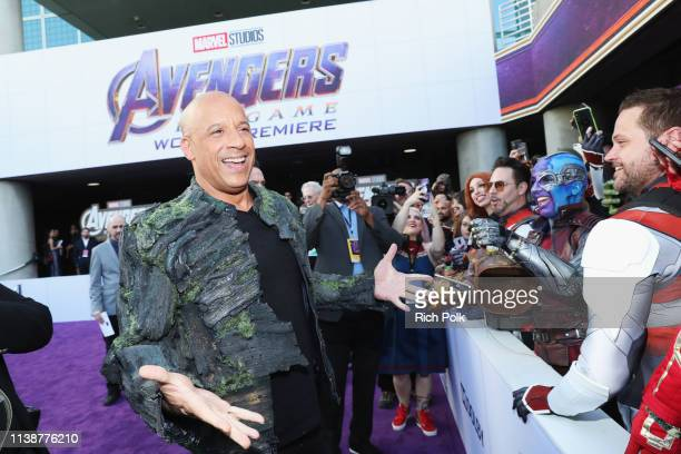 Vin Diesel attends the Los Angeles World Premiere of Marvel Studios' Avengers Endgame at the Los Angeles Convention Center on April 23 2019 in Los...