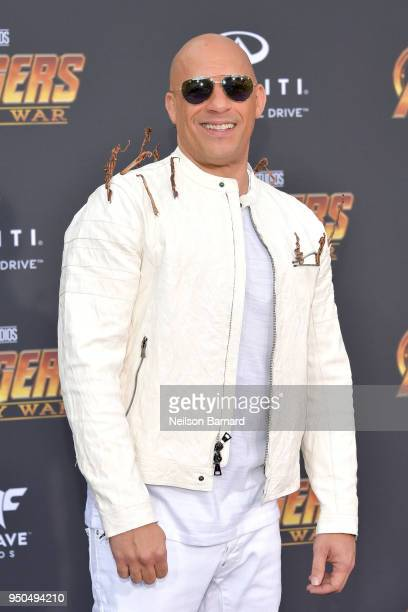 Vin Diesel attends the premiere of Disney and Marvel's 'Avengers Infinity War' on April 23 2018 in Los Angeles California