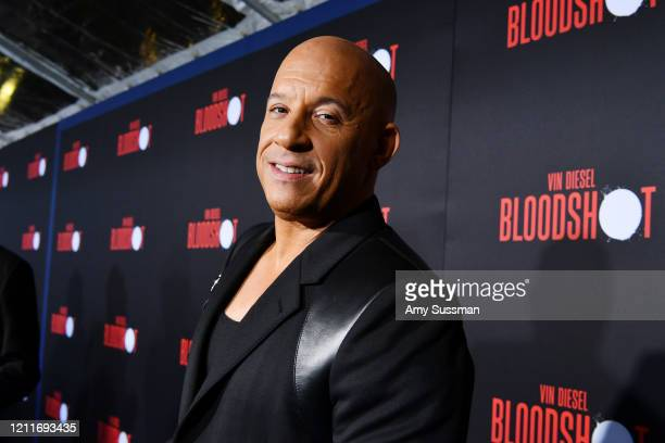 "Vin Diesel attends the premiere of Sony Pictures' ""Bloodshot"" on March 10, 2020 in Los Angeles, California."