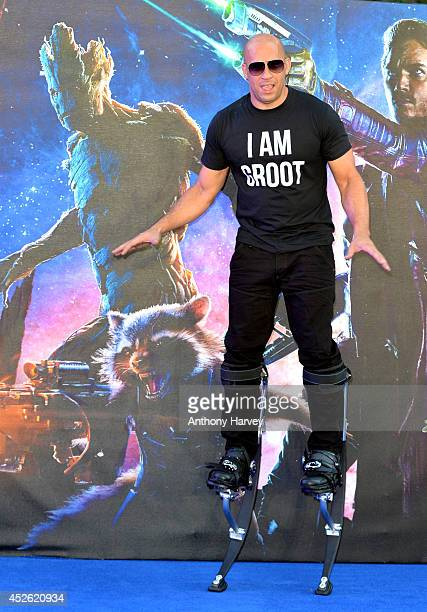 Vin Diesel attends the UK Premiere of Guardians of the Galaxy at Empire Leicester Square on July 24 2014 in London England