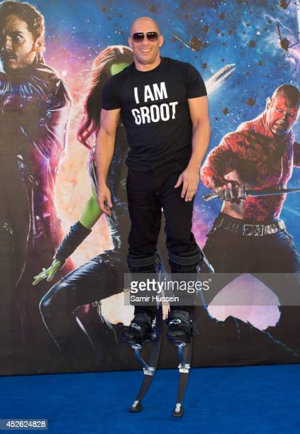 Vin Diesel attends the UK Premiere of 'Guardians of the Galaxy' at Empire Leicester Square on July 24 2014 in London England