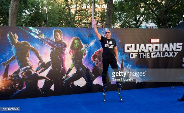 """Vin Diesel attends the UK Premiere of """"Guardians of the Galaxy"""" at Empire Leicester Square on July 24, 2014 in London, England."""