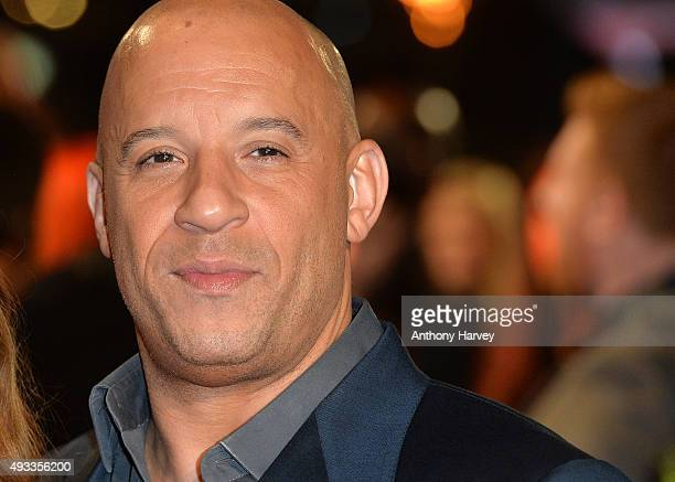 """Vin Diesel attends the UK Premiere of """"The Last Witch Hunter"""" at Empire Leicester Square on October 19, 2015 in London, England."""