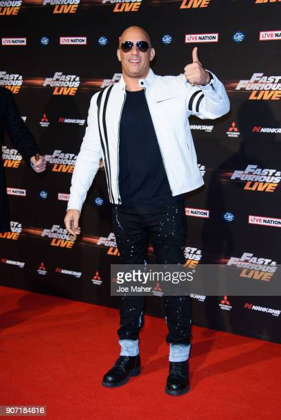 Vin Diesel during the 'Fast and Furious Live' premeire at The O2 Arena on January 19 2018 in London England