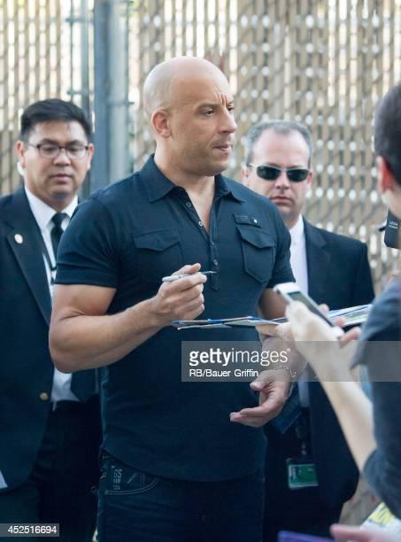 Vin Diesel is seen at 'Jimmy Kimmel Live' on July 21 2014 in Los Angeles California