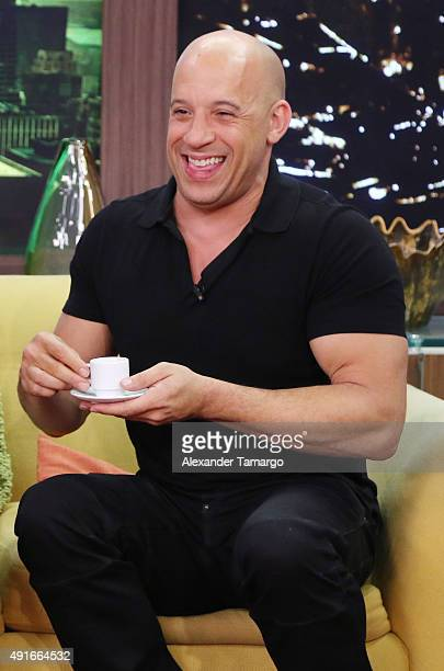 Vin Diesel is seen on the set of Despierta America to promote his film The Last Witch Hunter at Univision Studios on October 7 2015 in Miami Florida