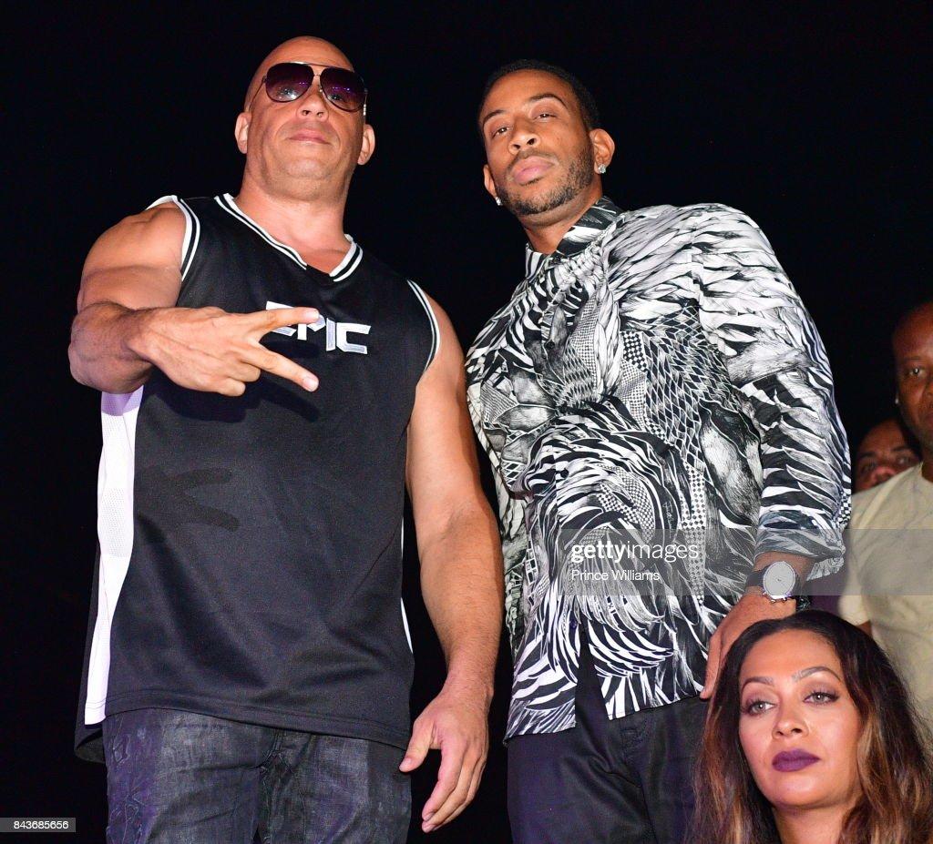 Vin Diesel, Ludacris and La La Anthony attend the Luda birthday celebration at Compound on September 3, 2017 in Atlanta, Georgia.