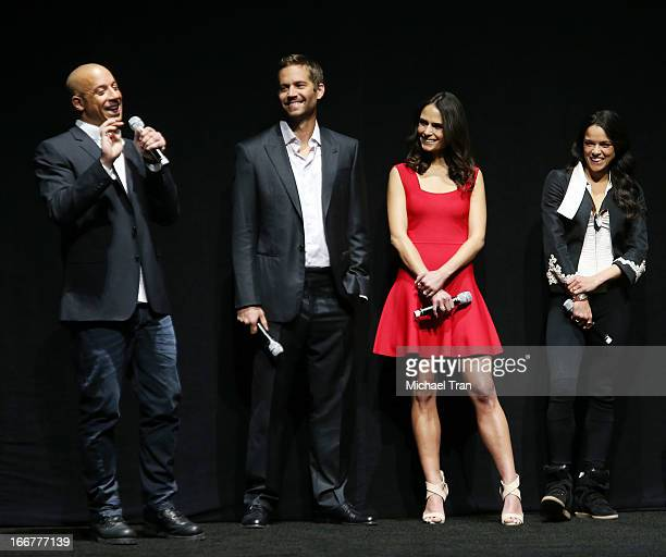 Vin Diesel Paul Walker Jordana Brewster and Michelle Rodriguez attend a Universal Pictures presentation to promote their upcoming film 'Fast Furious...