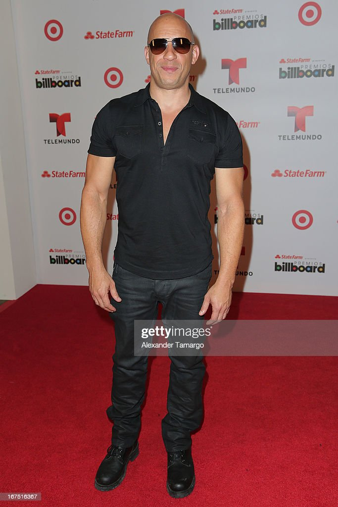 Vin Diesel poses backstage at Billboard Latin Music Awards 2013 at Bank United Center on April 25, 2013 in Miami, Florida.