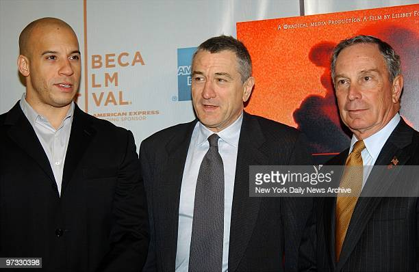 Vin Diesel Robert De Niro and Mayor Michael Bloomberg attend the Tribeca Film Festival screening of 'Brotherhood' at the Tribeca Performing Arts...