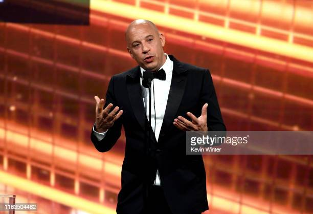 Vin Diesel speaks onstage during the 2019 British Academy Britannia Awards presented by American Airlines and Jaguar Land Rover at The Beverly Hilton...