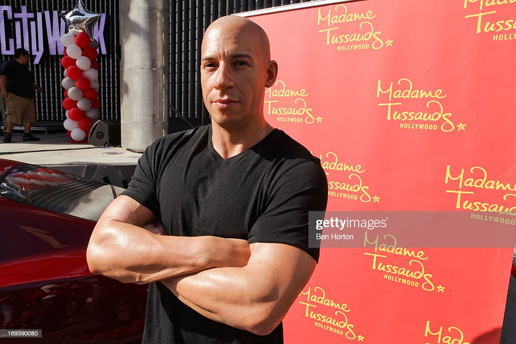 A Vin Diesel wax figure at the Universal CityWalk 20th anniversary event featuring 8 original cars from the 'Fast & The Furious' Movie Franchise 5 Towers Outdoor Concert Arena on May 23, 2013 in Universal City, California.