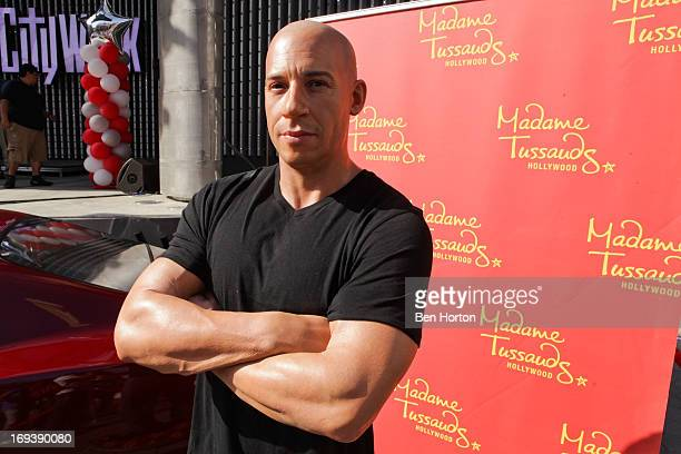Vin Diesel wax figure at the Universal CityWalk 20th anniversary event featuring 8 original cars from the 'Fast The Furious' Movie Franchise 5 Towers...