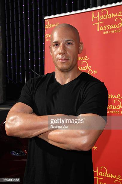 Vin Diesel wax figure at Universal CityWalk 20th Anniversary event featuring 8 original cars from Fast The Furious movie franchise at 5 Towers...