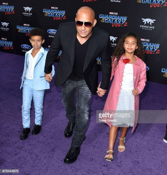 Vin DieselHania Riley Sinclair Vincent Sinclair arrives at the Premiere Of Disney And Marvel's Guardians Of The Galaxy Vol 2 at Dolby Theatre on...