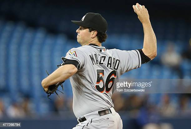 Vin Mazzaro of the Miami Marlins delivers a pitch during MLB game action against the Toronto Blue Jays on June 8 2015 at Rogers Centre in Toronto...