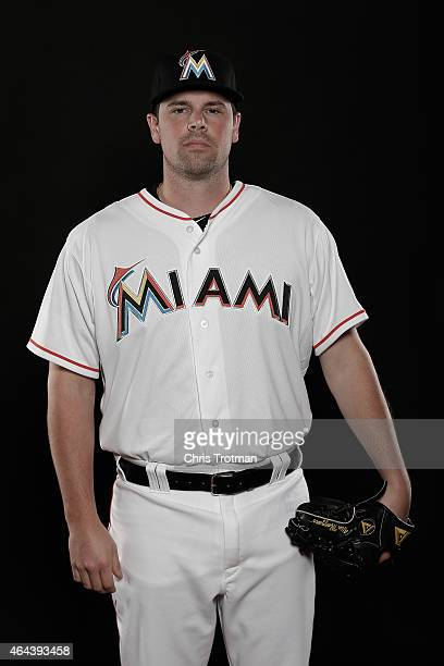 Vin Mazzaro of the Miami Marlins poses for a photograph at Spring Training photo day at Roger Dean Stadium on February 25 2015 in Jupiter Florida