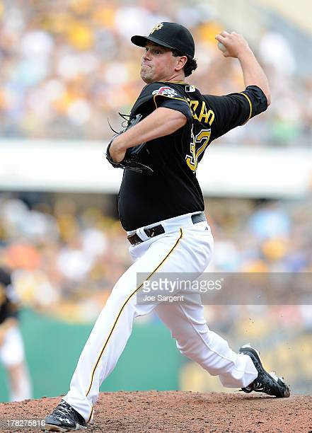 Vin Mazzaro of the Pittsburgh Pirates pitches against the Arizona Diamondbacks on August 17 2013 at PNC Park in Pittsburgh Pennsylvania
