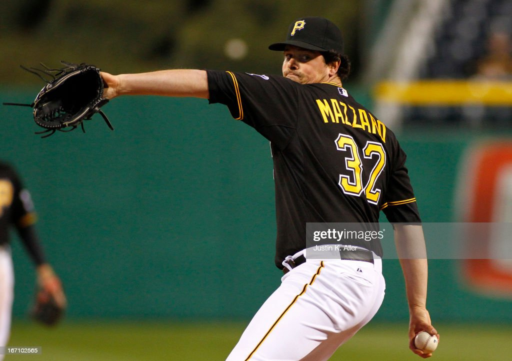 Vin Mazzaro #32 of the Pittsburgh Pirates pitches against the Atlanta Braves on April 19, 2013 at PNC Park in Pittsburgh, Pennsylvania.