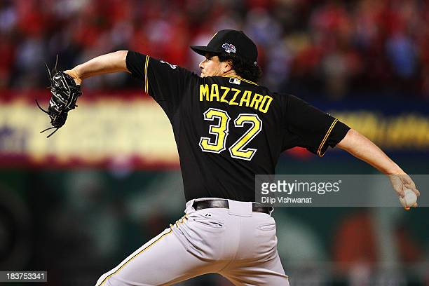 Vin Mazzaro of the Pittsburgh Pirates pitches against the St Louis Cardinals during Game Five of the National League Division Series at Busch Stadium...
