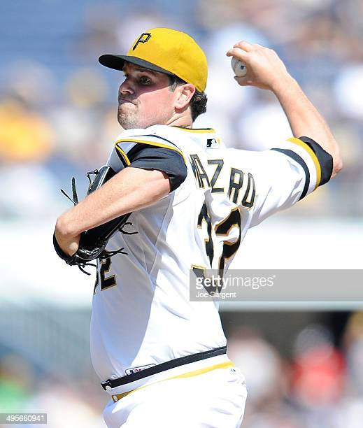 Vin Mazzaro of the Pittsburgh Pirates pitches against the Washington Nationals on May 25 2014 at PNC Park in Pittsburgh Pennsylvania