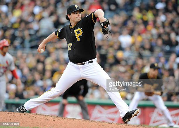 Vin Mazzaro of the Pittsburgh Pirates pitches during Game Four of the National League Division Series against the St Louis Cardinals on Monday...