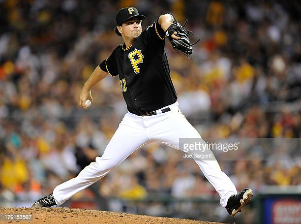 Vin Mazzaro of the Pittsburgh Pirates pitches during the eighth inning against the St Louis Cardinals on August 31 2013 at PNC Park in Pittsburgh...