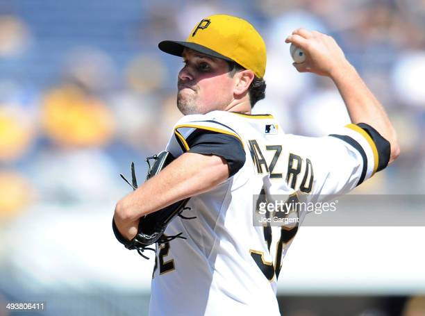 Vin Mazzaro of the Pittsburgh Pirates pitches during the seventh inning against the Washington Nationals on May 25 2014 at PNC Park in Pittsburgh...