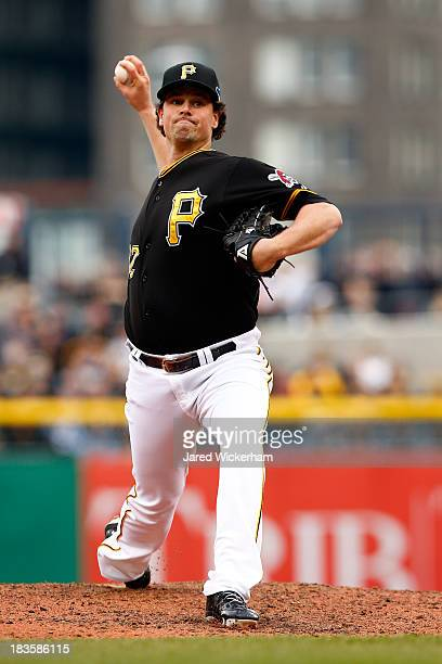 Vin Mazzaro of the Pittsburgh Pirates throws a pitch in the sixth inning against the St Louis Cardinals during Game Four of the National League...