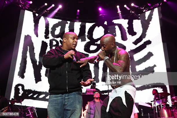 Vin Rock and Treach of Naughty by Nature perform during Hot 97's Busta Rhymes And Friends Hot For The Holidays at Prudential Center on December 5...